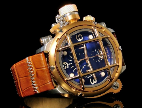 мужские часы invicta 17348 russian diver nautilus swiss made gold chronograph 1000m