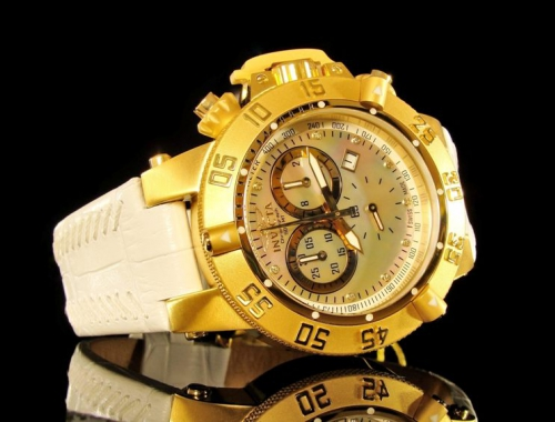 женские часы Invicta 5503 subaqua noma iii swiss made gold chronograph 500 meter genuine leather